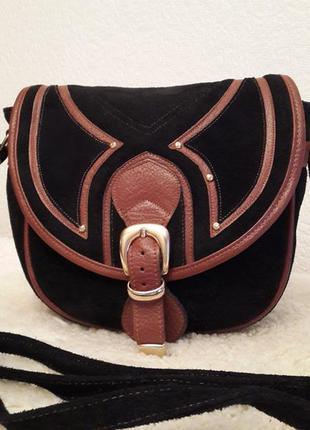 Замшевая сумка crossbody италия с отделкой из кожи