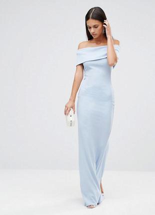 Голубое платье макси в рубчик city goddess для asos,р-р14