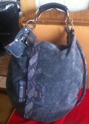 Крутая огромная вместительная сумка-шоппер-баул из натур змеиной кожи и замши deriva1 фото