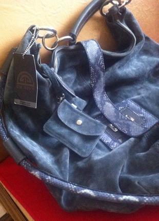 Крутая огромная вместительная сумка-шоппер-баул из натур змеиной кожи и замши deriva2 фото