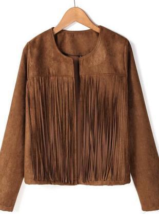 Куртка пиджак накидка под замш бахрома