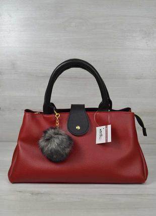 Красная женская сумка саквояж мягкая на три отделения с черными вставками