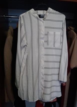 Офисная, стильная длинная рубашка