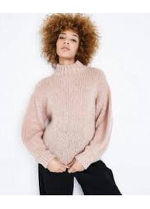 Пудрово-розовый шик от new look  мега крутой джемпер крупной вязки модного кроя! шерсть!