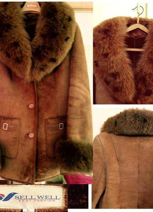 Дубленка с мехом песца, курточка меховая, шубка