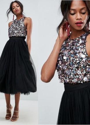 Asos роскошное платье шифоновый многослойный низ большие паетки доставка сутки