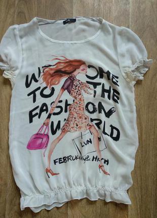 Шифоновая футболка oodji