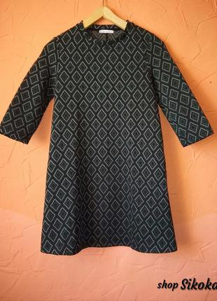 Zara!! обнова!! классное 👗 платье ромбами. миди платье. коротенькое.рукав 3/4
