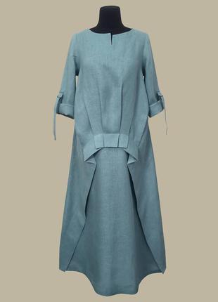 Стильное льняное платье платье миди