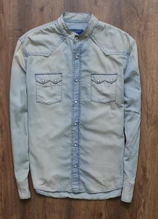 Джинсовая рубашка без воротника от urbaan casual style by watsons