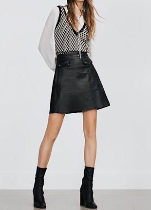 Zara натуральная кожа юбка трапеция