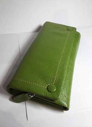 Оригинальный  кожаный  кошелек green card, натуральная кожа