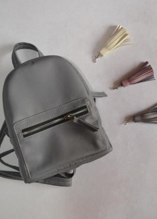 Стильнячий качественный серый рюкзак, экокожа!)