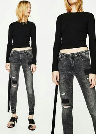 Модные рваные джинсы с заплатками м