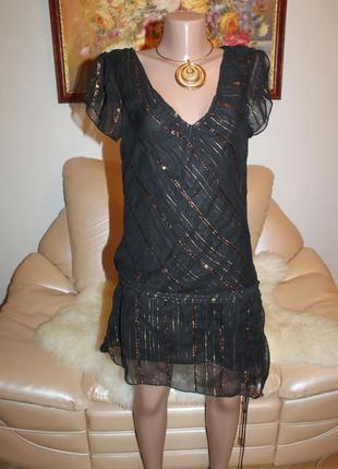 Eve черное золотистое платье очень красивое легкое воздушное s
