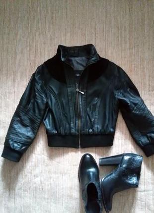 Куртка zara из натуральной кожи/замш