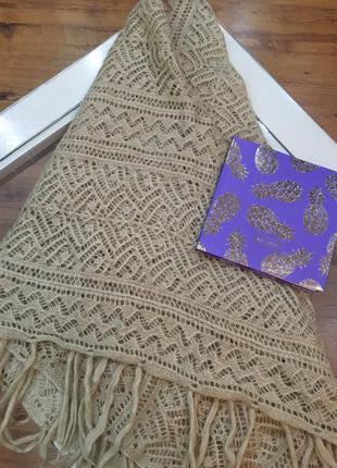 Молочный теплый шарф платок stradivarius