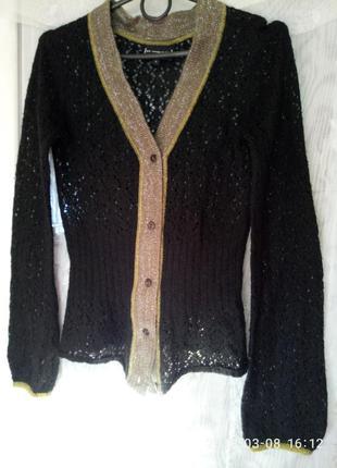 St-martins. ажурная вязаная кофта кардиган скандинавского дизайна с нарядной отделкой