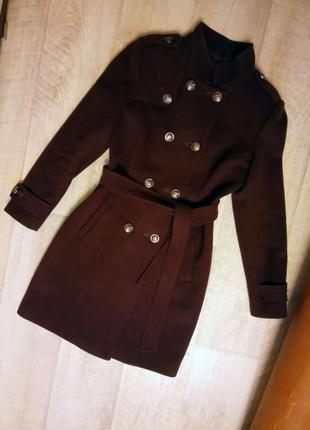 Пальто весна-осень, на пуговицах, кашемировое - шоколад