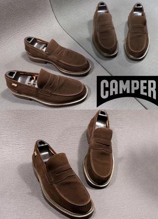 Camper туфли лоферы из натуральной замши geox ecco