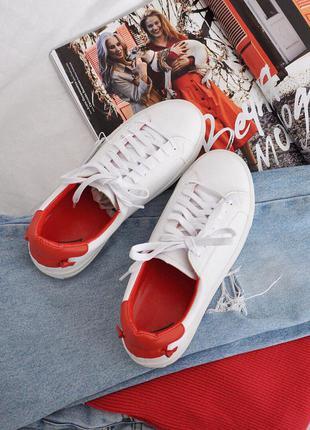 Кеды кроссовки бело красные, размеры 38,39,40,41