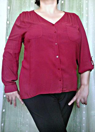 Бордовая рубашка, блуза с удлиненной спинкой, 100% вискоза