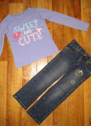 Стильный и нарядный комплект: реглан и джинсы george, рост 104 см