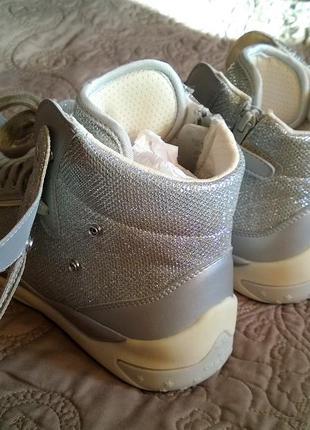 Новые, высокие кроссовки geox (сникерсы) с крыльями (отстегиваются). серебро ботинки3