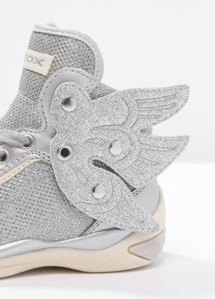Новые, высокие кроссовки geox (сникерсы) с крыльями (отстегиваются). серебро ботинки4
