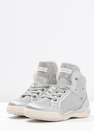 Новые, высокие кроссовки geox (сникерсы) с крыльями (отстегиваются). серебро ботинки5