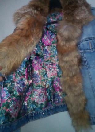 Модная,стильная  джинсовая куртка с натуральным мехом лисы