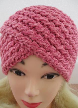 Шапка-повязка цвет розовая пудра