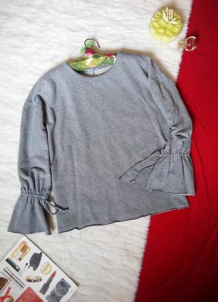 Трендовый джемпер свободного кроя (оверсайз) zara с завязками на рукавах