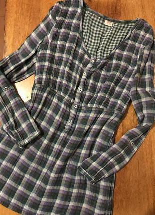 Актуальная блуза рубашка туника в клетку