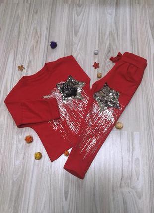 Стильный повседневный костюм для девочки италия размеры 6 и 10 (красный)