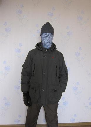 Куртка пуховик теплая eckored цвета хаки