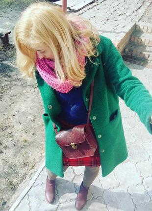 Sale валяное  осень/зима зеленое пальто oversize италия