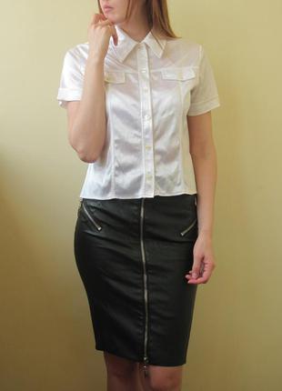 Белая атласная блуза с воротником блузка для офиса и других мерприятий
