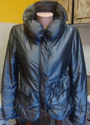 Куртка весенняя на синтепоне gir+a&f италия серебряная размер s