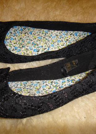 Женские кружевные туфли, балетки, мокасины р. 37 стелька 23 см