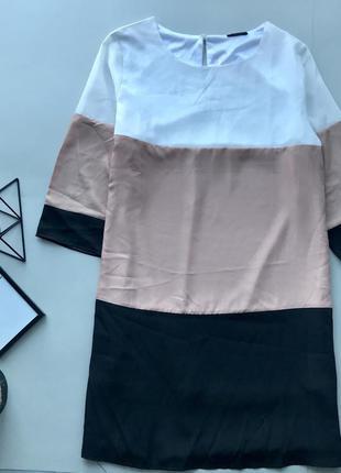 Роскошьное свободное платье / нюдовое полосатое платья оверсайз