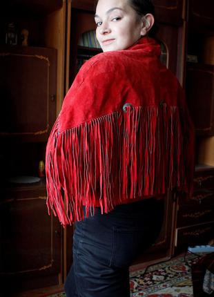 Винтажная куртка кожа замш с бахромой, куртка винтаж, ретро