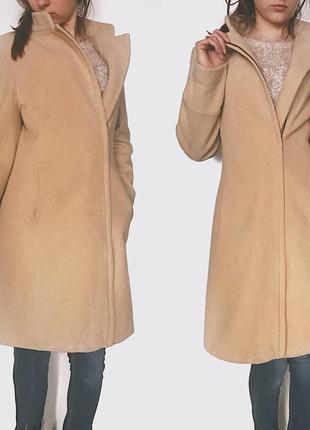 Пальто шерсть стиль бойфренд oversize от next бежевое пальто