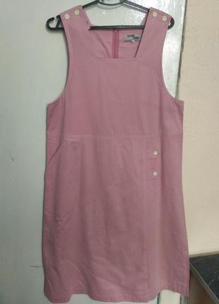 Коттоновый сарафан оверсайз, пудрово-розовый цвет