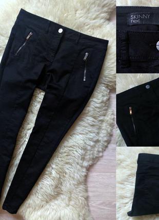 #172 черные джинсы скинни средней посадки с замочками next
