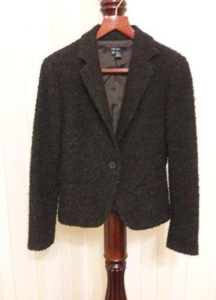 Фирменный шерстяной буклированный пиджак жакет zara