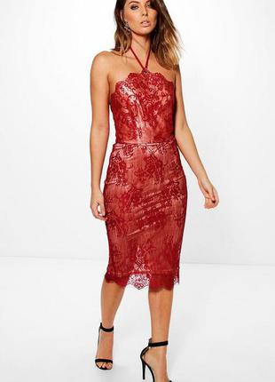 Роскошное платье миди с кружевом и завязками boohoo