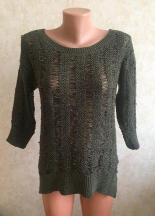 Свитер хаки рваный дырки свободный стильный свитерок кофта