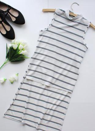 Трендовая удлиненная футболка в полоску с разрезами по бокам