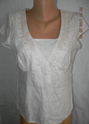 Нежно-розовая блуза лен tu